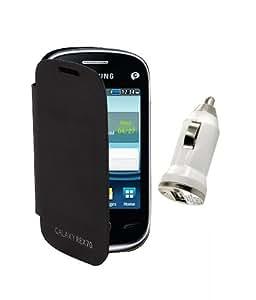 KolorEdge Flip Cover Plus Car Charger For Samsung Galaxy Rex 70 S3802 -black