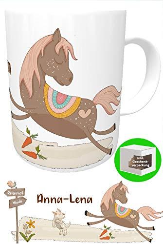 Kilala personalisierte Kindertasse Pferd mit Name Becher Pferdetasse Teetasse Geschenk Tasse Mädchen Farbe braun