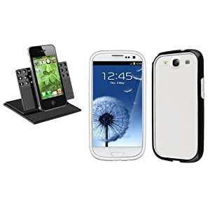 Universel Support+Noir/Blanc BUMPER Housse Pour Samsung Galaxy S III S3 i9300