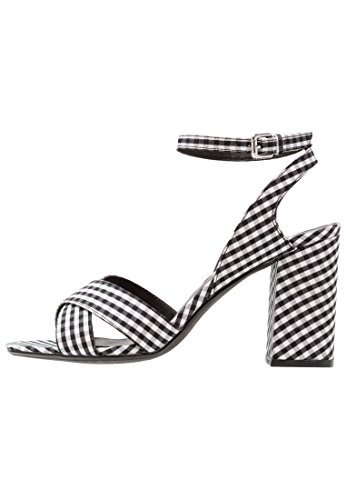 Even&odd sandali da donna con tacco alto e cinturino a caviglia, quadretti nero-bianco, 39