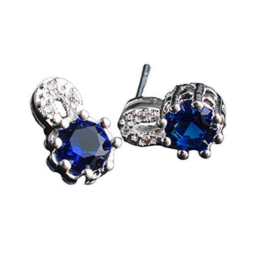 um Geburtstag Ohrstecker Funkelnde Sichere Zirkon Einfache Diamanten Damen Ohrringe Blue ()