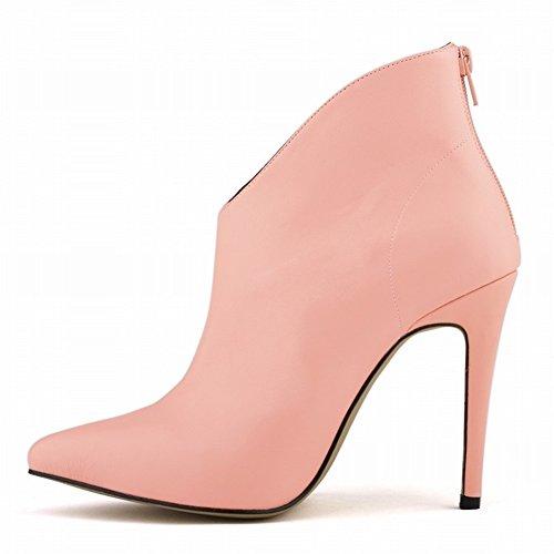 HooH Femmes Sexy Matte Pointu Stiletto Escarpins Bottines Rose