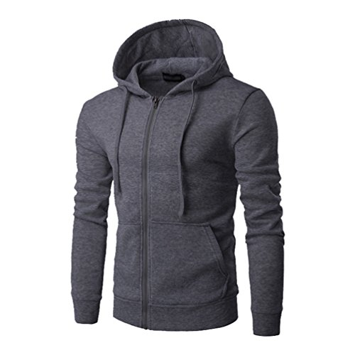 ZKOO-Felpa-con-Cappuccio-Uomo-Zip-Hooded-Sweatshirt-Manica-Lunga-Hoodie-Cappotto-Giacca-Pullover-Grigio-Scuro