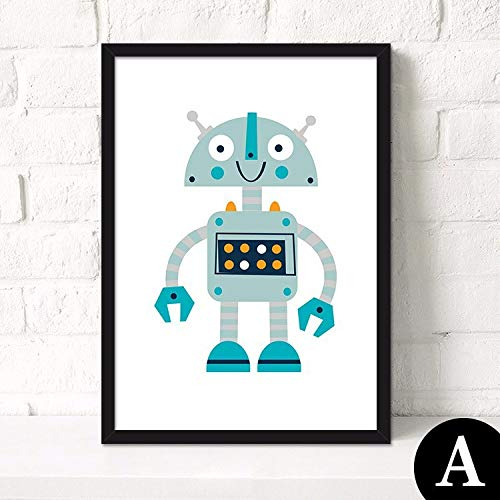 adgkitb canvas Moderne Cartoon Roboter Kind Kinderzimmer dekorative Malerei 4 30x45cm KEIN Rahmen