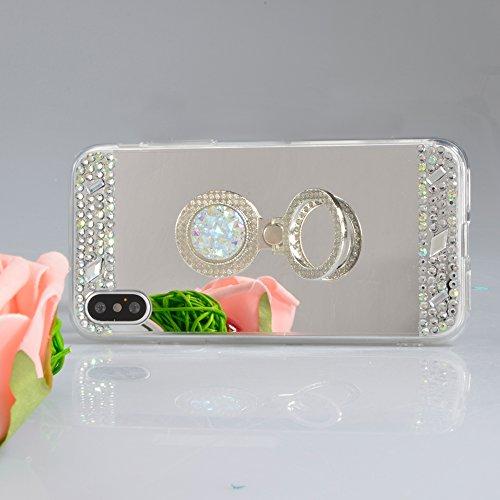 iPhone X (iPhone 10) Hülle,Vandot iPhone X (iPhone 10) 5,8 Zoll Hülle TPU Case Schutzhülle Silikon Crystal Case Durchsichtig,Glänzend Glitzer Kristall Mädchen Fee TPU Silikon Schutz Handy Hülle Case T Spiegel-Silber