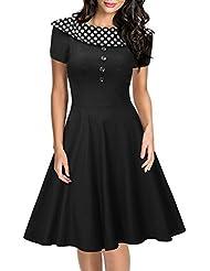 Miusol® Damen Elegant Rundhals mit Polka Dots Cocktailkleid Rockabilly 50er Jahre Party Kleid Schwarz EU 36-48