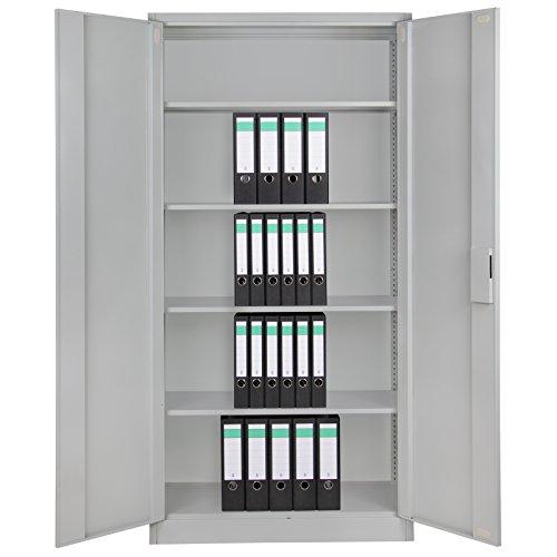4er Set Spind Büroschrank Aktenschrank 180 x 90 x 39 cm Metallschrank Universalschrank mit 3 Einlegeböden, Höhe frei montierbar Ordnerschrank , Farbe:Grau-Grau