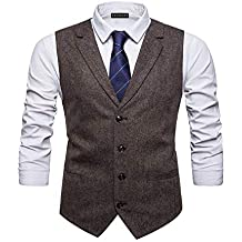 508728b80e45 YCUEUST Homme Tweed Single-Breasted Classique Gilets Parti Formal Waistcoat  Suit Vest