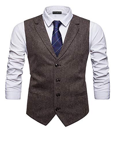 YCUEUST Herren Business Freizeit Anzugweste Slim Fit Elegant Vintage Tweed Ärmellose Westen Grau...