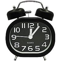 COOJA Reloj Despertador Vintage Retro Alarm Clock, 3 Pulgadas Despertador Doble Campana Despertador Silencioso Sin Tic TAC, Despertadores Analogicos Despertador Fuerte Reloj de Mesa -Negro