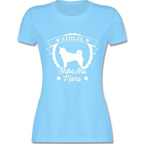 Shirtracer Hunde - Stolze Shiba Inu Mama - Damen T-Shirt Rundhals Hellblau