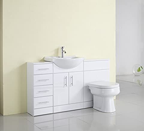 1400mm White Gloss Fully Fitted Bathroom Furniture Combination