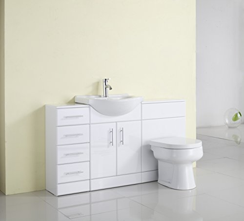 1400mm White Gloss Fully Fitted Bathroom Furniture Combination Set Search Furniture
