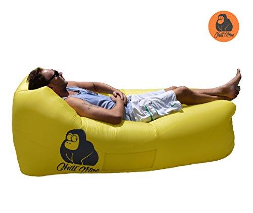 ChillMoe Luftsofa air lounger Sitzsack aufblasbar Liegesack air sofa outdoor (gelb)