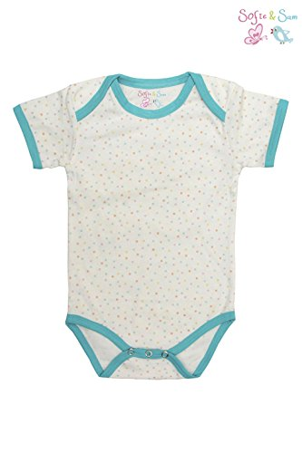 Sofie & Sam London, Baby Bodysuit Romper Onesie made from Organic Cotton, Pastel Polka Dots