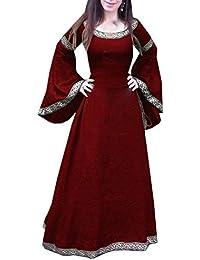 b7ae14fbe0db Damen Mittelalter Renaissance Königin Vintage Kleid Druck Spleißen Maxikleid  Partykleid Abendkleid Rundhals Trompete Ärmel Kleider Tunikakleid