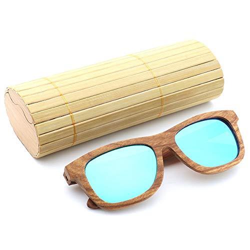 Easy Go Shopping Metallscharniere Polarisierte Brillen Retro Sonnenbrillen Bambus Brillen Holz Sonnenbrillen Sonnenbrillen und Flacher Spiegel (Color : Blau, Size : Kostenlos)
