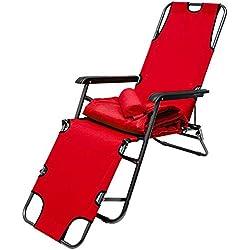 Tumbona Plegable | Cómoda Silla de Playa con Acolchada Amovible 178 cm + Reposacabezas + Reposapiernas + Respaldo Reclinable | Rojo