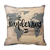 Jxrodekz Wanderlust Rustic Wood Travel World Map New Home Fashion Decor Throw Kissenbezug Polyester Cushion Cover 18X18inchInches