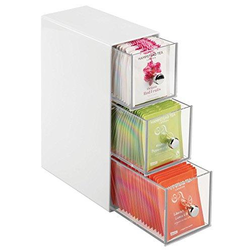 Mdesign pratico porta bustine da te a 3 cassetti – mobiletto cucina con cassetti, per spezie, tè in bustina, cialde caffè, ecc. – elegante portaspezie in plastica – bianco