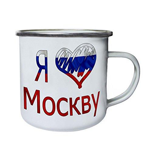 Amo la bandera de Moscú Rusia Retro, lata, taza del esmalte 10oz/280m