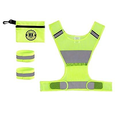 Mk´s FIVE STAR Sicherheits-Reflektoren Set bestehend aus Sicherheitsweste ( Warnweste ) für Running, Fahrradfahren, Joggen, Laufen und noch vieles andere + 2 Stretch Reflektorbänder für Hand-und Fußgelenke, diese 5cm breit und maximal stretchfähig bis 55