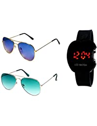 fbe96af81ca Younky UV Protected Aviator Blue Sunglasses for Men Women Boys and Girls  with Digital LED Watch