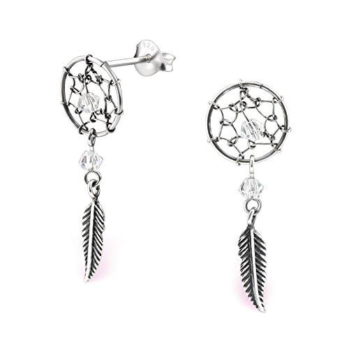 Atrapasueños Stud Pendientes–plata de ley 925–Parte tamaño: 10mm x 24mm–con dos cristales de Swarovski–caja de regalo libre–la rosa y plateado compañía–rs0577