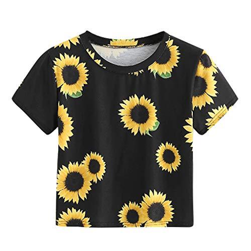 z Kurzhülse Sunflower Gedruckt Tops Beiläufiges T Shirt Der Art Und Weise ()