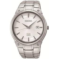 Seiko Solar SNE339P1 Men's Automatic Watch Analogue Watch-White Face-Grey Steel Bracelet