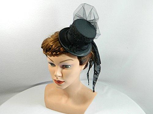 Mini Zylinder schwarz Damenhut Hut Fascinator Cocktail Hütchen (Kostüm Edwardian Ball)