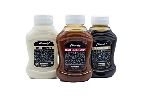 fitmeals Low Carb Saucen, Kalorienarm & ohne Zuckerzusatz (Probierpaket, je 1 x 250 GR Taste like Ketchup, Mayo, BBQ) (Pack Set Light)