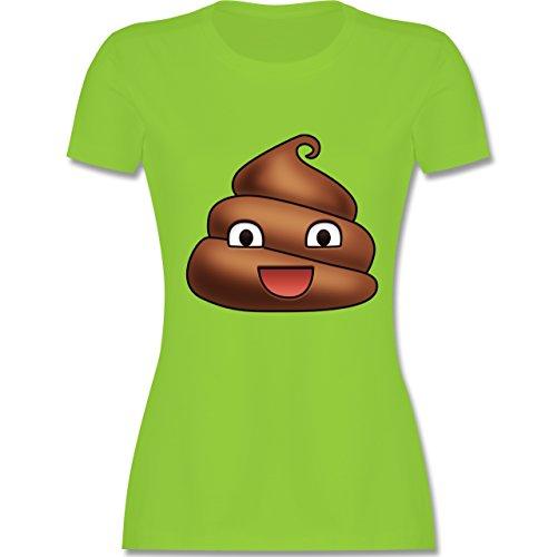 Statement Shirts - Kackhäufchen Emoji - tailliertes Premium T-Shirt mit Rundhalsausschnitt für Damen Hellgrün