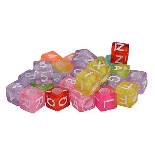 EXQUILEG 500 Stück-Mehrfarbig Transparent Alphabet Buchstabe Perlen, Verwendung mit Loom Band Bands, Um Armbänder und Anderen Schmuck. Looks Like A Rainbow. 6 mm (Loom-band-alphabet Perlen)