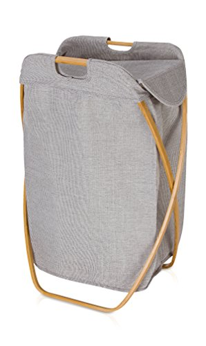 Möve Bamboo Klappbarer Wäschekorb 39 x 46 x 66 cm aus Bambus mit Canvas, Grey