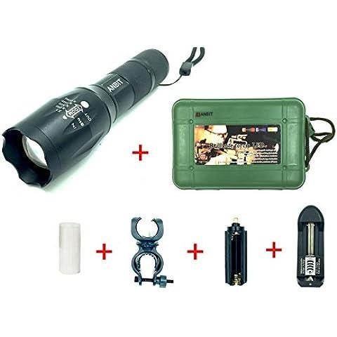 ANBIT Zoom Super Bright tattico torcia elettrica impermeabile del CREE XML-T6 LED della torcia elettrica, messa a fuoco regolabile 5 Modi Esterni Casa Strumento - Vento Fino Chiave
