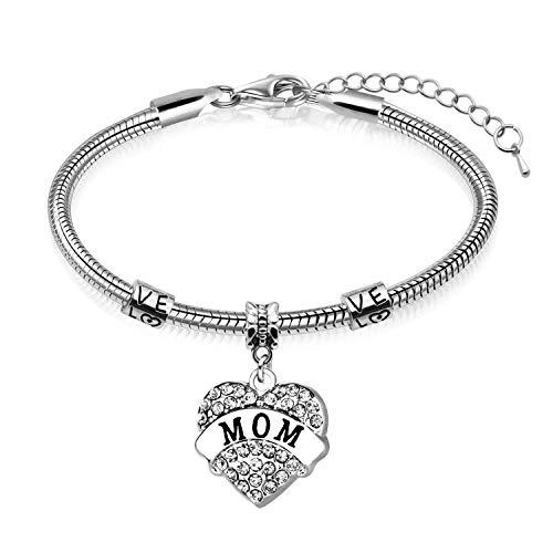 Regalo per la festa della mamma - gioielli a forma di cuore braccialetto madre (argento)