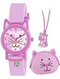 Tikkers de los niños reloj de cuarzo con rosa esfera analógica y rosa correa de silicona ATK1020