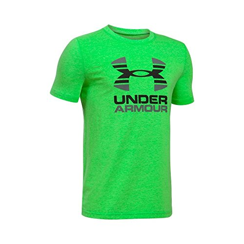 Under Armour – Felpa bicolore con logo T a maniche corte Lime Twist/Light Heather