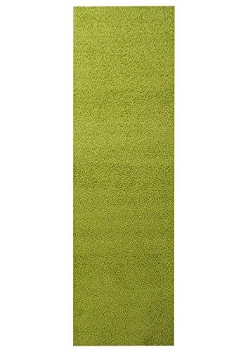 Shaggy Teppich Läufer Pulpo Grün nach Maß - versandkostenfrei schadstoffgeprüft pflegeleicht antistatisch schmutzresistent robust strapazierfähig Flur Diele Eingang Küche Wohnzimmer, Größe Auswählen:67 x 200 cm