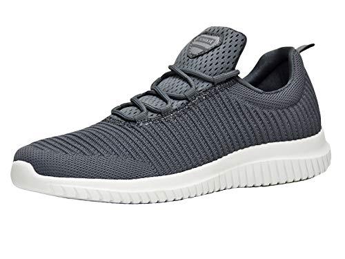 Basket Femme et Homme Chaussure de Sport Course Running Fitness Tennis Slip on Leger Confortable Mode Sneakers Basses Gris 44 EU