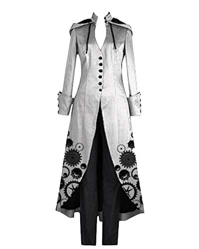 GladiolusA Abrigos Gótico Largo De Mujer Chaqueta Victoriana Steampunk Ropa Larga Abrigo De Manga Larga Gris L