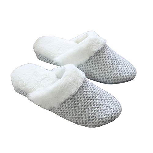 XIU Pantoffeln,Damen Baumwoll-Hausschuhe,Keil-Stricken Zuhause warm und Rutschfest, 38/38.5