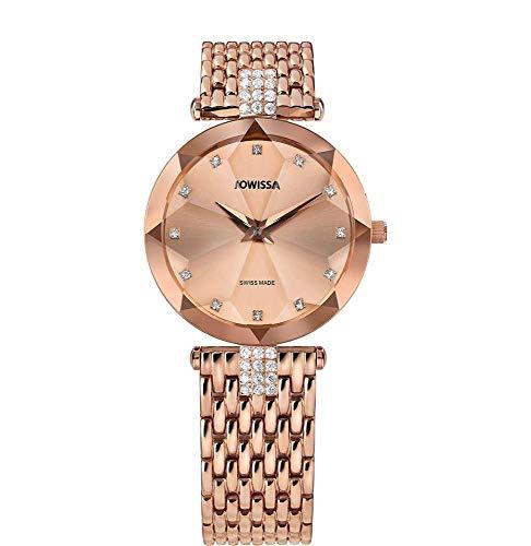 Jowissa Facet Strass Swiss J5.634.M - Reloj de Pulsera para Mujer, Color Rosa