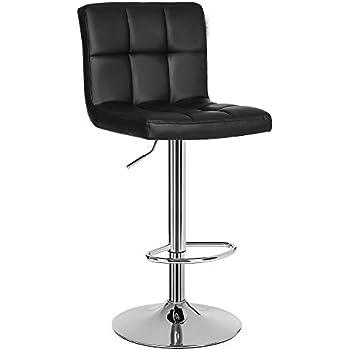 Songmics 1 x Chaise et Tabouret de Bar avec Dossier noir hauteur réglable 95-115 cm Noir LJB64B-1