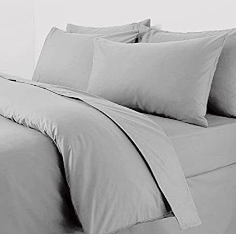 Plain Duvet Cover With Pillow Cases Non Iron Percale Quilt Cover Bedding Bedroom Set (Double,