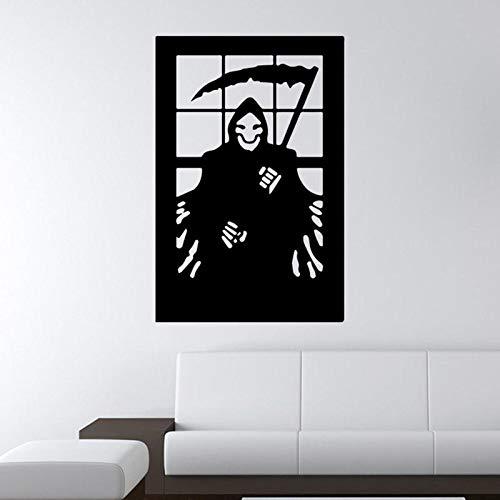 ShopSquare64 Halloween 3D Wallpapers Tod Sichel Kreative Horror PVC Selbstklebende Kulisse Wandaufkleber Umweltschutz Halloween Wandaufkleber Fenster Dekoration Abziehbild Dekor