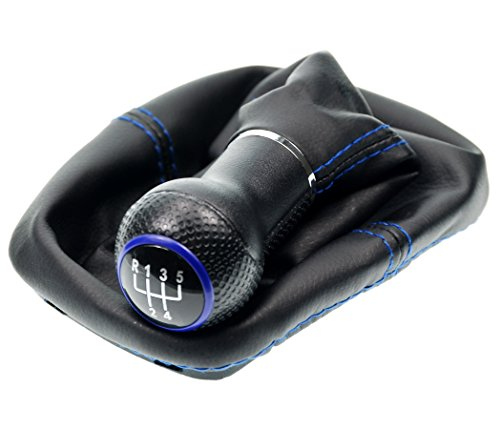L&P A254-5 Schaltsack Schaltmanschette in Schwarz mit blauer Naht BLAU + Schaltknauf + Rahmen mit 5 Gang mit 12mm Knauf als Plug Play Ersatzteil für 1J0711113
