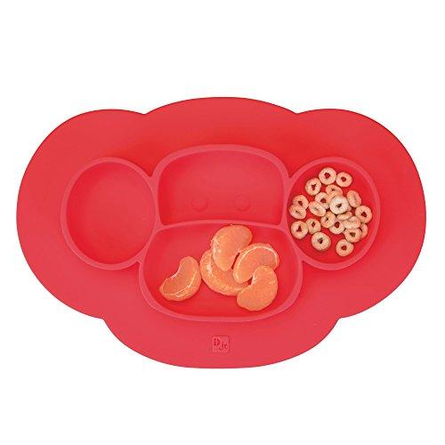 InterDesign IDjr assiette bébé, set de table enfant antidérapant en silicone, assiette ventouse avec motif de singe, rouge cerise