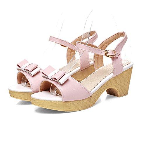 AllhqFashion Damen Pu Leder Gemischte Farbe Schnalle Offener Zehe Mittler Absatz Sandalen Pink